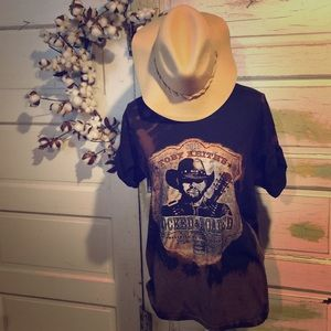 Hand distressed and bleached Toby Keith Tee